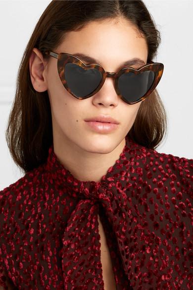 9e45a76c0a Saint Laurent. Loulou heart-shaped leopard-print tortoiseshell acetate  sunglasses. £275. Zoom In