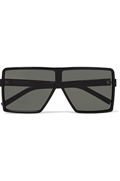 SAINT LAURENT   Saint Laurent - D-frame Acetate Sunglasses - Black   Goxip