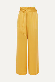 Belted silk-satin pajama pants
