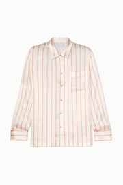 Striped silk-satin pajama shirt