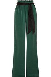 Belted washed-silk wide-leg pants