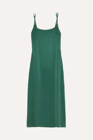 Asceno WASHED-SILK MIDI DRESS