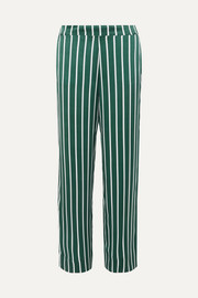Striped silk-satin pajama pants