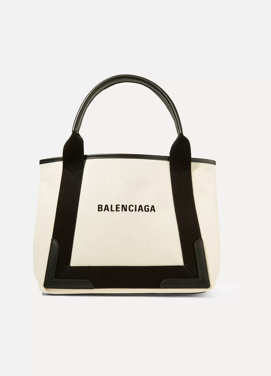 Balenciaga Leather-trimmed logo-print canvas tote