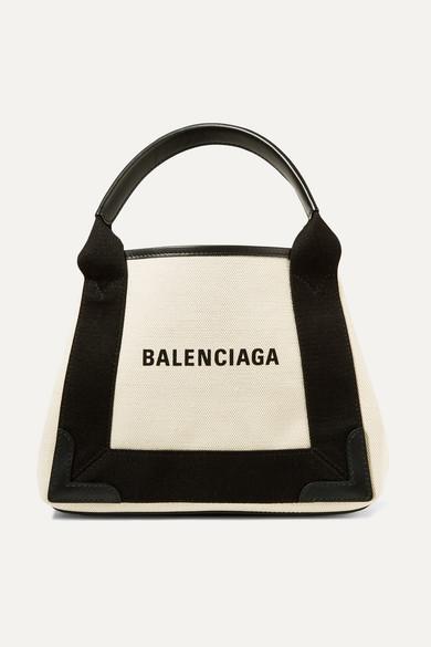 Balenciaga Totes Leather-trimmed logo-print canvas tote
