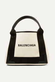 Leather-trimmed logo-print canvas tote