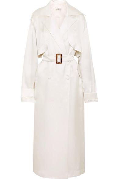MATÉRIEL | MATÉRIEL - Belted Silk-satin Trench Coat - White | Goxip