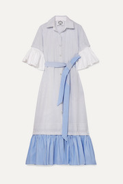 Valerie belted ruffled striped cotton-poplin maxi dress