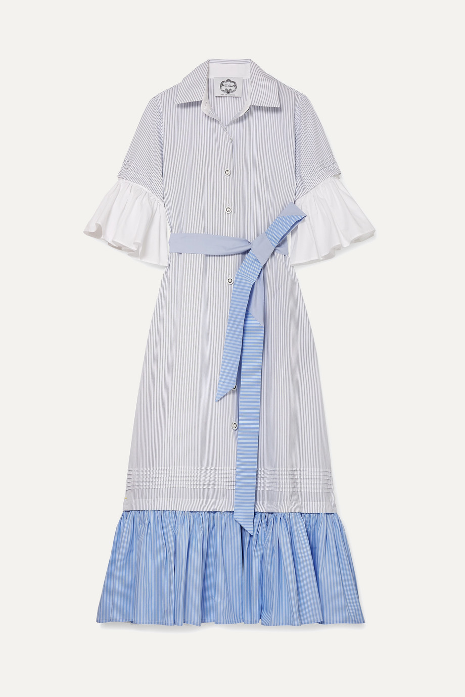 Evi Grintela | Valerie belted ruffled striped cotton-poplin maxi dress | NET-A-PORTER.COM