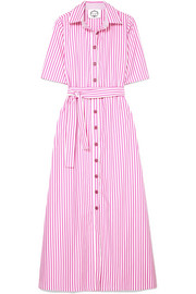 Valerie belted striped cotton-poplin maxi dress