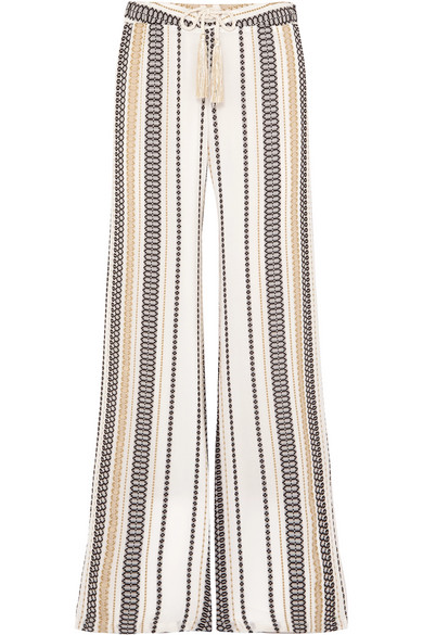 ZEUS+DIONE | Zeus+Dione - Alecestes Striped Silk-blend Gauze Wide-leg Pants - Ivory | Goxip