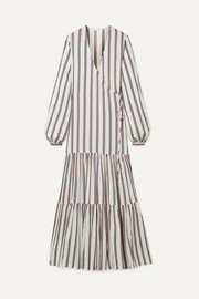 MATIN Tiered striped cotton-blend voile wrap maxi dress