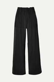 Crinkled-cotton wide-leg pants