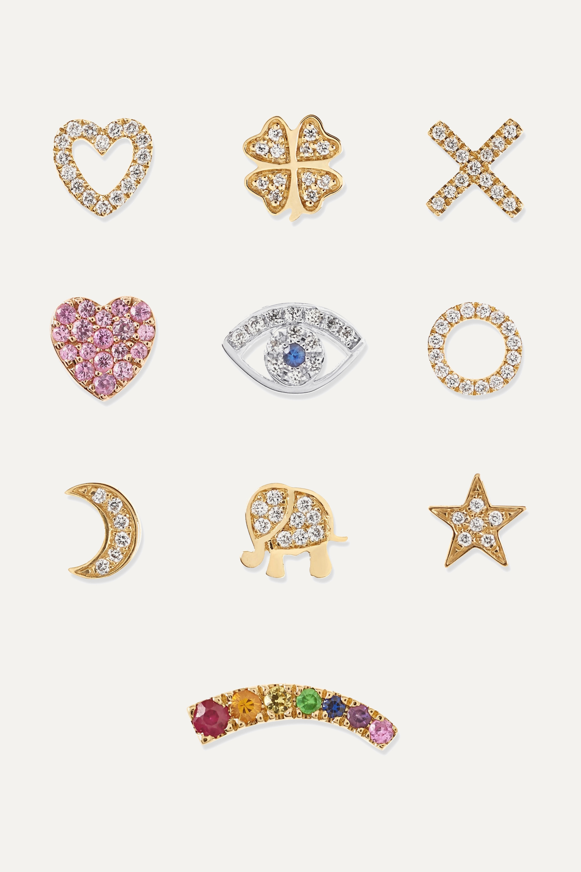 Loquet Send a Kiss 18-karat yellow and white gold diamond and sapphire charms