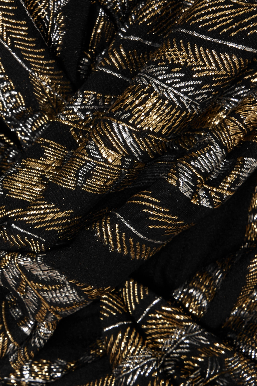 Dundas Ruched metallic fil coupé crepe mini dress
