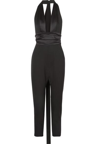 Satin-Trimmed Grain De Poudre Wool-Blend Jumpsuit in Black