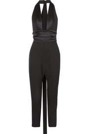 Dundas Satin-trimmed grain de poudre wool-blend jumpsuit