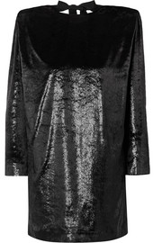 Dundas Open-back metallic velvet mini dress