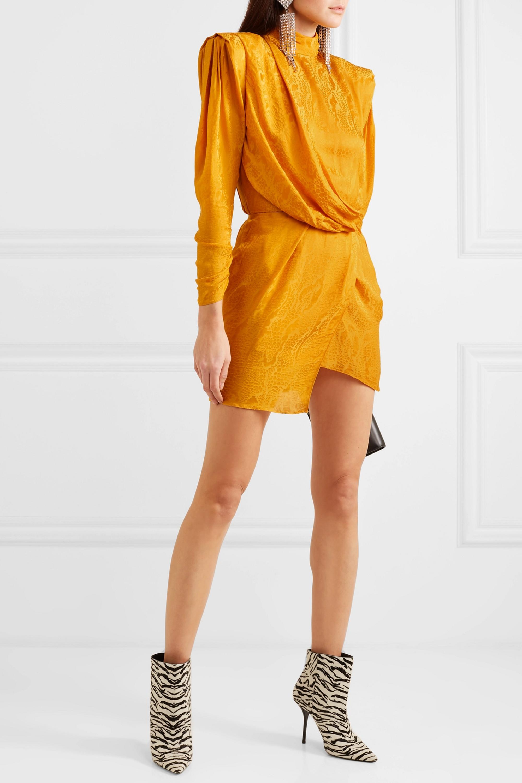 Dundas Draped open-back satin-jacquard mini dress