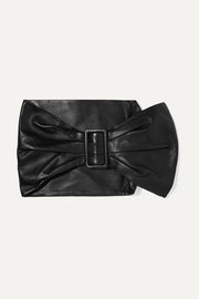 Ruched leather waist belt