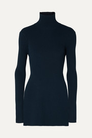 Peter Do Open-back ribbed-knit turtleneck top