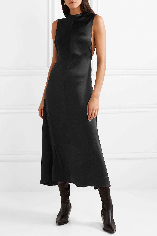 Peter Do Open-back paneled satin and crepe midi dress