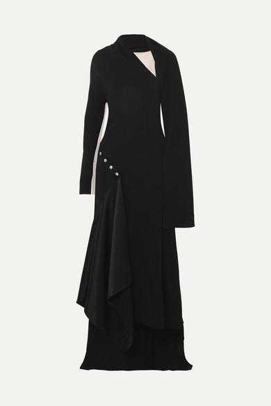 e39587696dd Peter Do. Asymmetric draped satin-trimmed crepe maxi dress