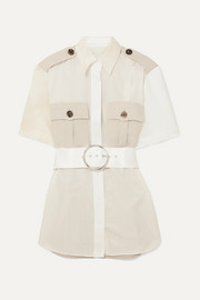 Peter Do College Safari belted paneled cotton-twill and seersucker shirt