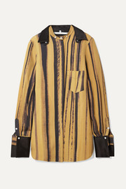 Peter Do Oversized satin-trimmed striped wool and silk-blend cady shirt