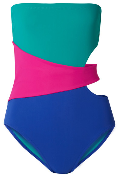 Karla Colletto Suits MARCELLA CUTOUT COLOR-BLOCK SWIMSUIT