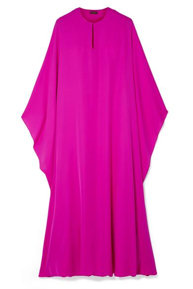 REEM ACRA Draped Silk-Georgette Midi Dress in Fuchsia