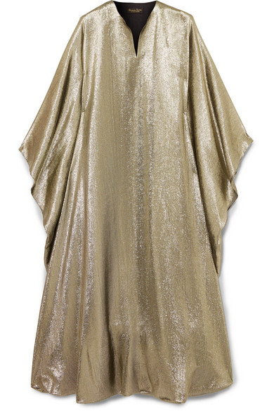 REEM ACRA Draped Lamé Midi Dress in Metallic