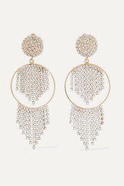 Strobo gold-tone crystal clip earrings