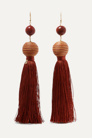 Wood and tassel earrings