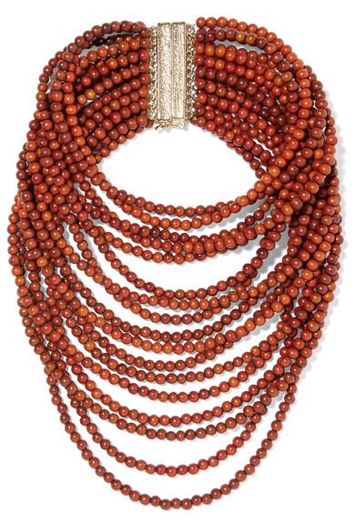 ROSANTICA | Rosantica - Arizona Gold-tone Beaded Necklace - Brown | Goxip