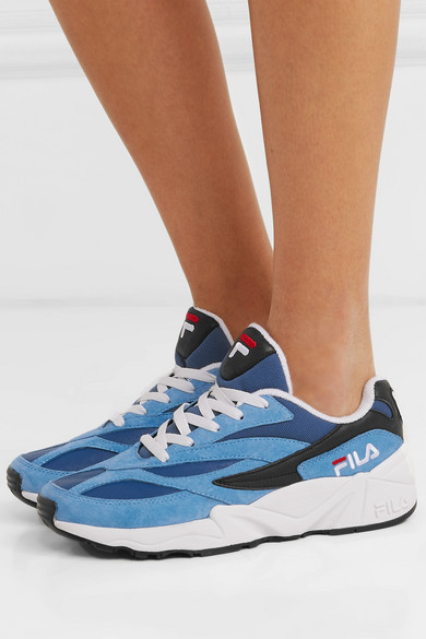 Fila | 94 suede, leather and canvas sneakers | NET-A-PORTER.COM