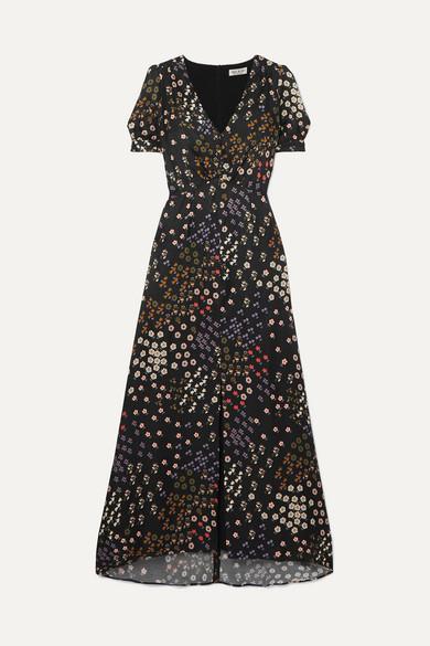 PAUL & JOE Broceliande Floral-Print Flocked Twill Dress in Black
