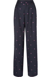 Paul & Joe Nora embroidered checked wool-blend wide-leg pants
