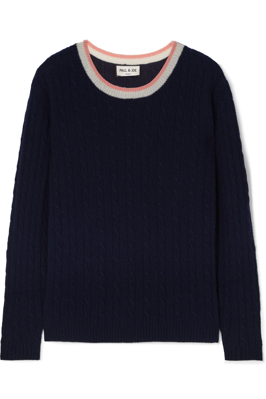 La Belette striped cable knit cashmere sweater