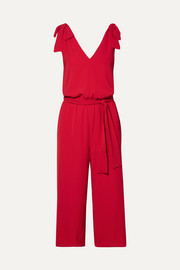 Bow-detailed crepe jumpsuit