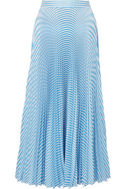 Paul & Joe Solaire pleated striped satin-twill midi skirt