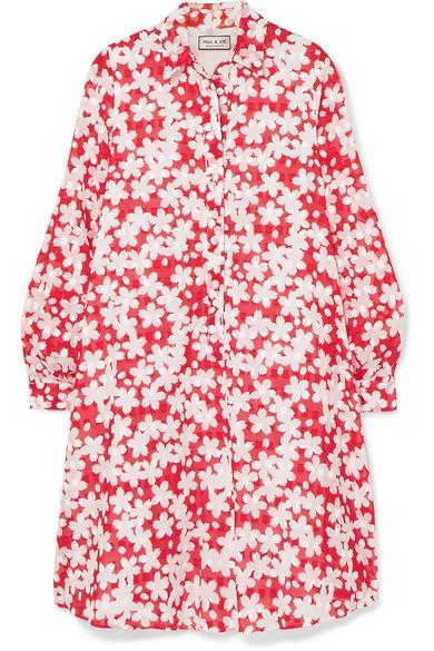 PAUL & JOE Trotinne Floral-Print Cotton Mini Dress in Red
