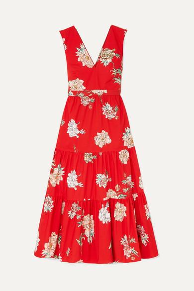PAUL & JOE Jtania Floral-Print Cotton-Poplin Maxi Dress in Red