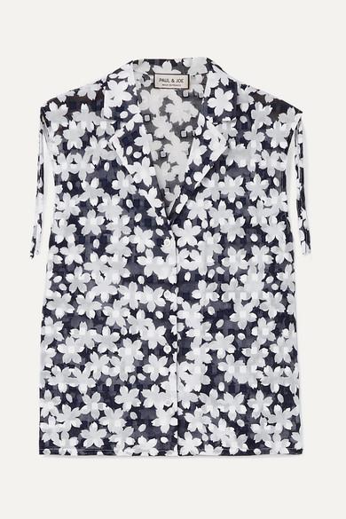 PAUL & JOE Jsuzon Floral-Print Cotton-Gauze Top in Navy