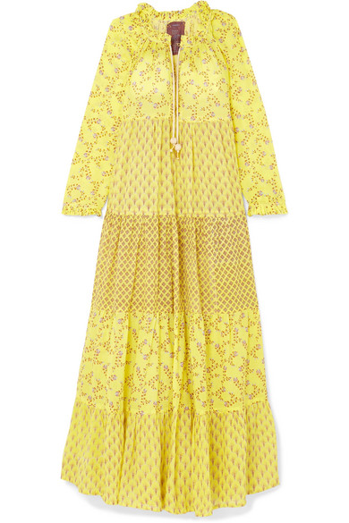 YVONNE S Tiered Printed Cotton-Voile Maxi Dress in Pastel Yellow