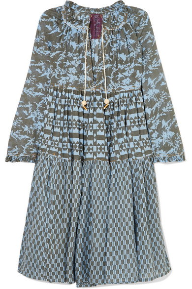 YVONNE S Printed Cotton-Voile Dress in Light Blue