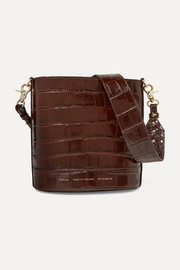 Cylinder croc-effect glossed-leather shoulder bag