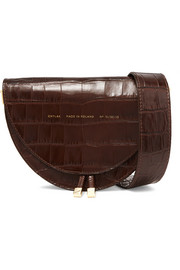 Tasseled croc-effect glossed-leather shoulder bag