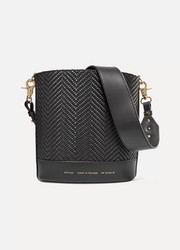 Cylinder small woven leather shoulder bag