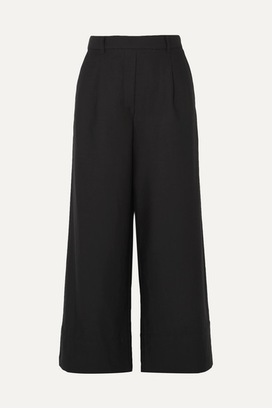 Cropped Summer Cotton And Linen Blend Wide Leg Pants by Matteau